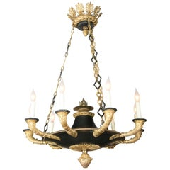 French D'ore Gilt and Patinated Bronze Nine-Light Chandelier