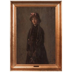 Antique Oil on Board Portrait of a Young Girl by Albert Kongsbak