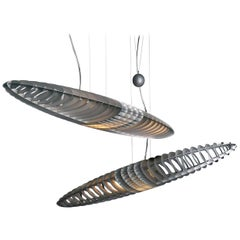 Designer Titanium Pendant Light, Pair