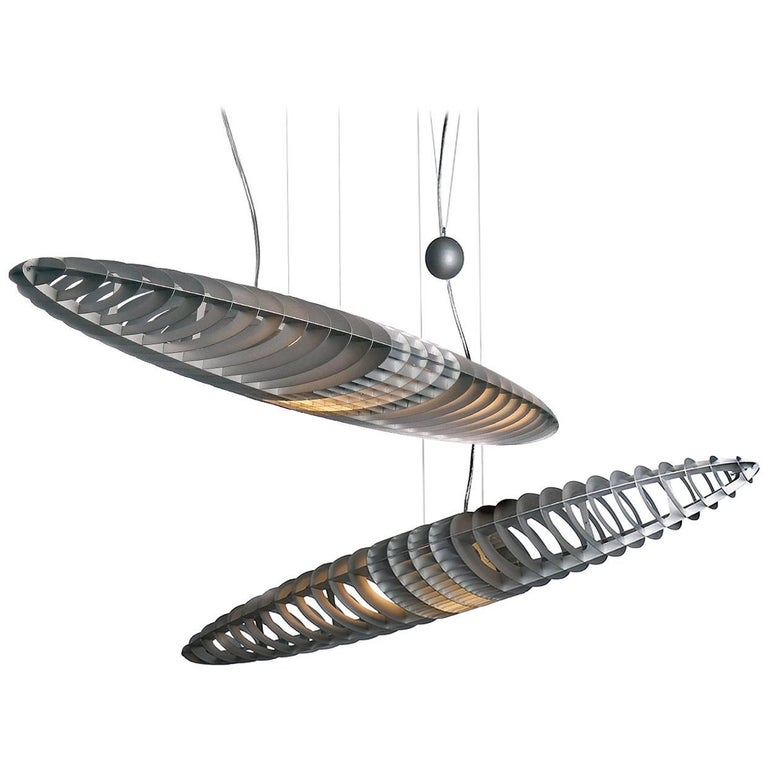 Designer Titanium Pendant Light, Pair For Sale
