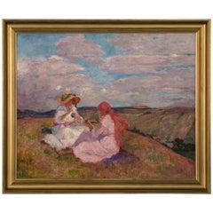 Antique Oil LandscapePainting of Two Girls on Hilltop, signed Valerie Telkessy