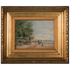 Small Antique Oil Painting on Canvas, Family Walking Along Beach