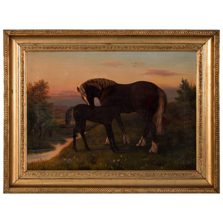 Antique Oil on Canvas Painting Of a Horse & Her Foal, circa 1880