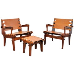Pair of Angel Pazmino Rosewood and Leather Sling Armchairs and Ottoman