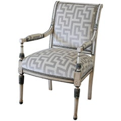 19th Century Neoclassical Style Chair with Velvet Upholstery