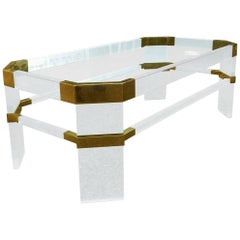 "Lucite and Brass Coffee Table by Charles Hollis Jones ""Metric, Clipped Corner"""