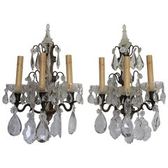 Pair of Bronze and Glass Crystal Sconces
