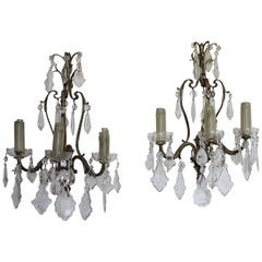 Antique Pair of French Sconces with Crystals