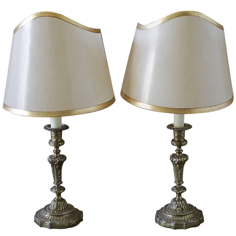 Pair of Brass Candlestick Lamps with Parchment Shades For Sale