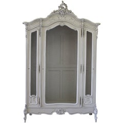 Antique Painted Louis XV Style French Display Armoire