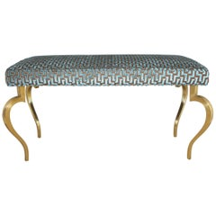 Italian Mid Century Modernist Cabriole Leg Brass Bench