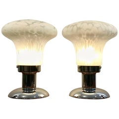 Pair of Art Deco Milk White Murano Glass Table Lamps with Chrome Base, Italy
