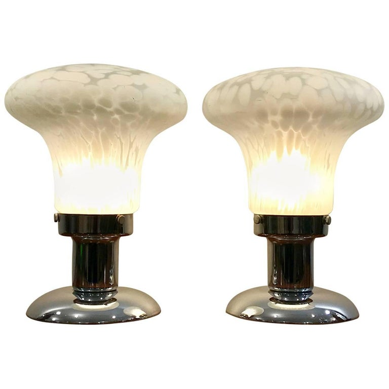 Pair of Art Deco Murano Glass Table Lamps
