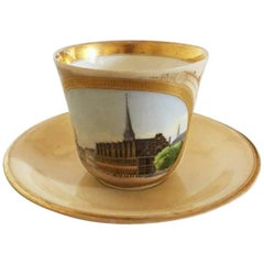 Bing & Grondahl Early Cup, Motif, the Exchange with Saucer and Royal Monogram