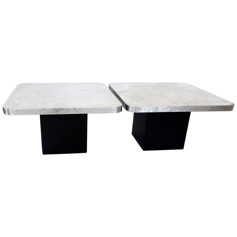 Pair of Etched Stainless Steel Tables by Heinz Lilienthal Coffee or Side Tables
