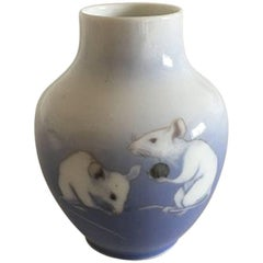 Royal Copenhagen Art Nouveau Vase with Two Rats