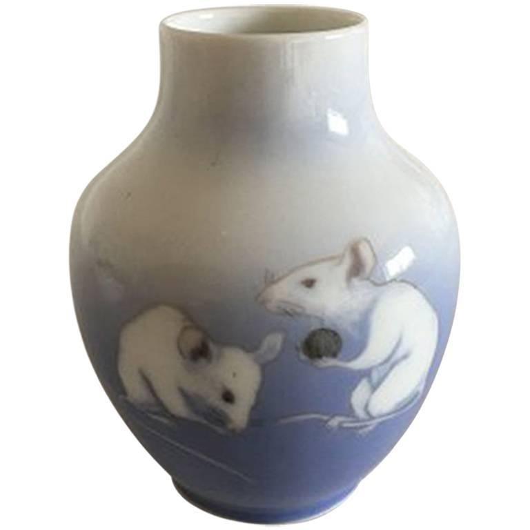 Royal Copenhagen Art Nouveau Vase with Two Rats