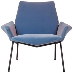 Single Diamond Armchair in Blue Velvet by Rossi di Albizzate, Italy, 1950s
