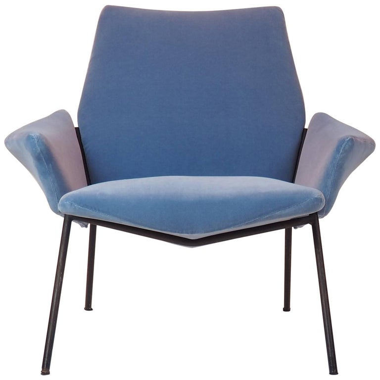 Single Diamond Armchair in Blue Velvet by Rossi di Albizzate, Italy, 1950s For Sale