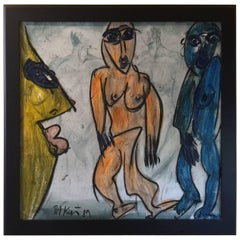 Original Modernist Expressionist Figural Painting by Peter Keil