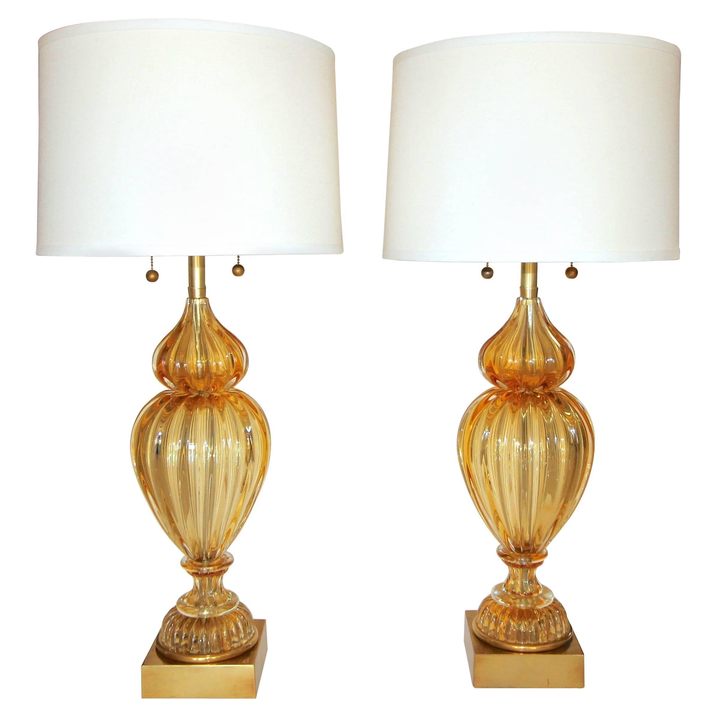 Pair Of Large Marbro Seguso Murano Golden Amber Table Lamps
