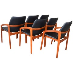 Set of Six Kai Kristiansen Angled Arm Dining or Office Chairs