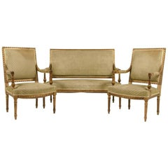 French Louis XVI-Style Carved Gilt Salon Set