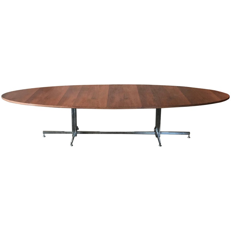 Hugh Acton Walnut Chrome Conference Dining Table