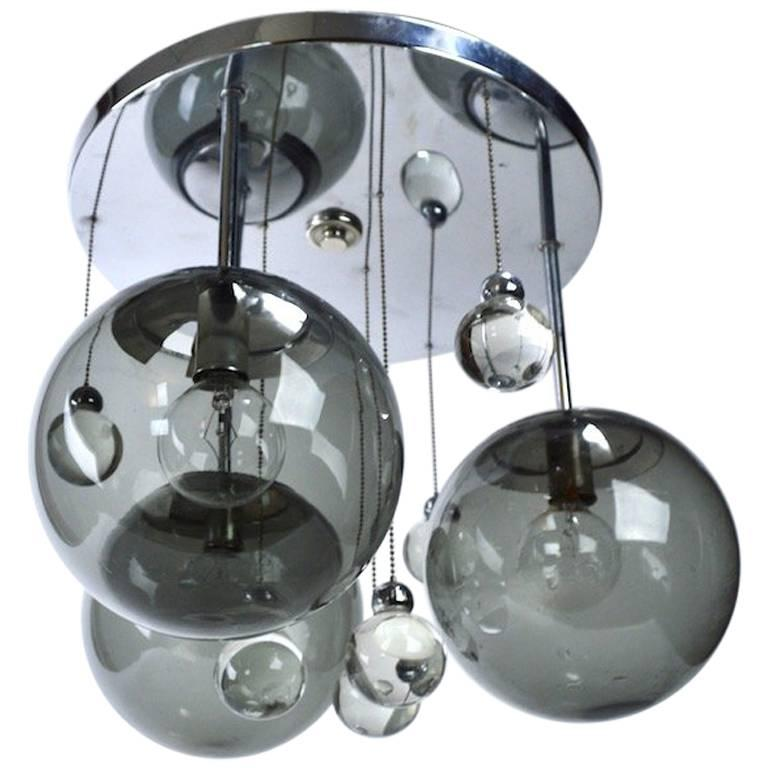 Chrome Lightolier Flush Mount Bubble Chandelier