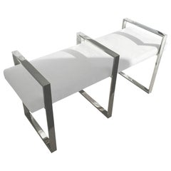 Triple Rectangle Bench in Stainless Steel by Cain Modern