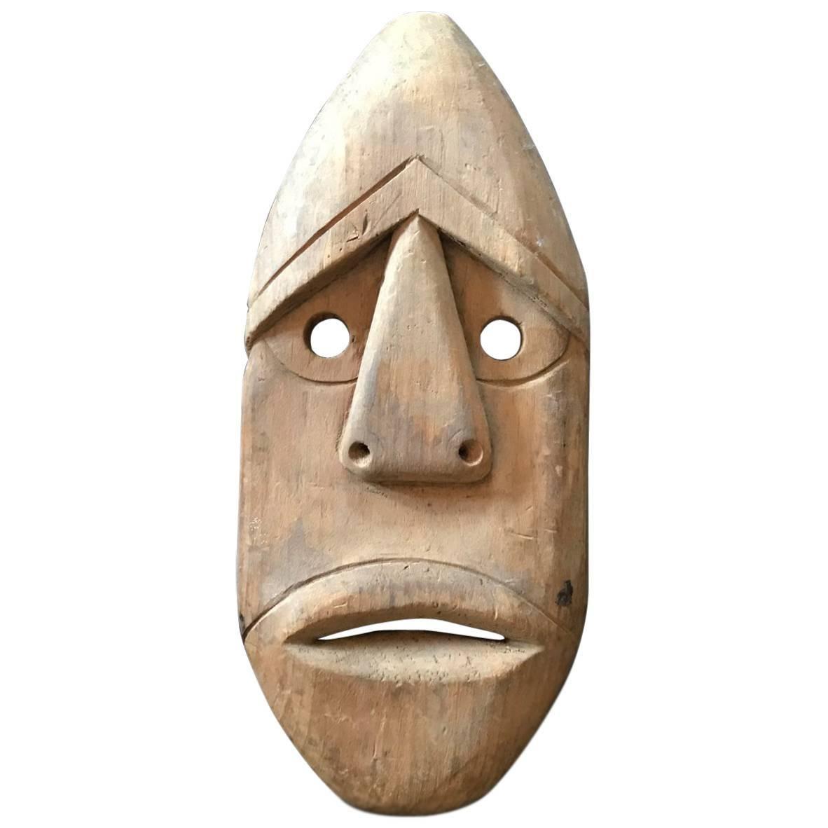 Hand Carved Wooden Native American Or Eskimo U0027Alutiiq/ Sugpiagu0027 Mask