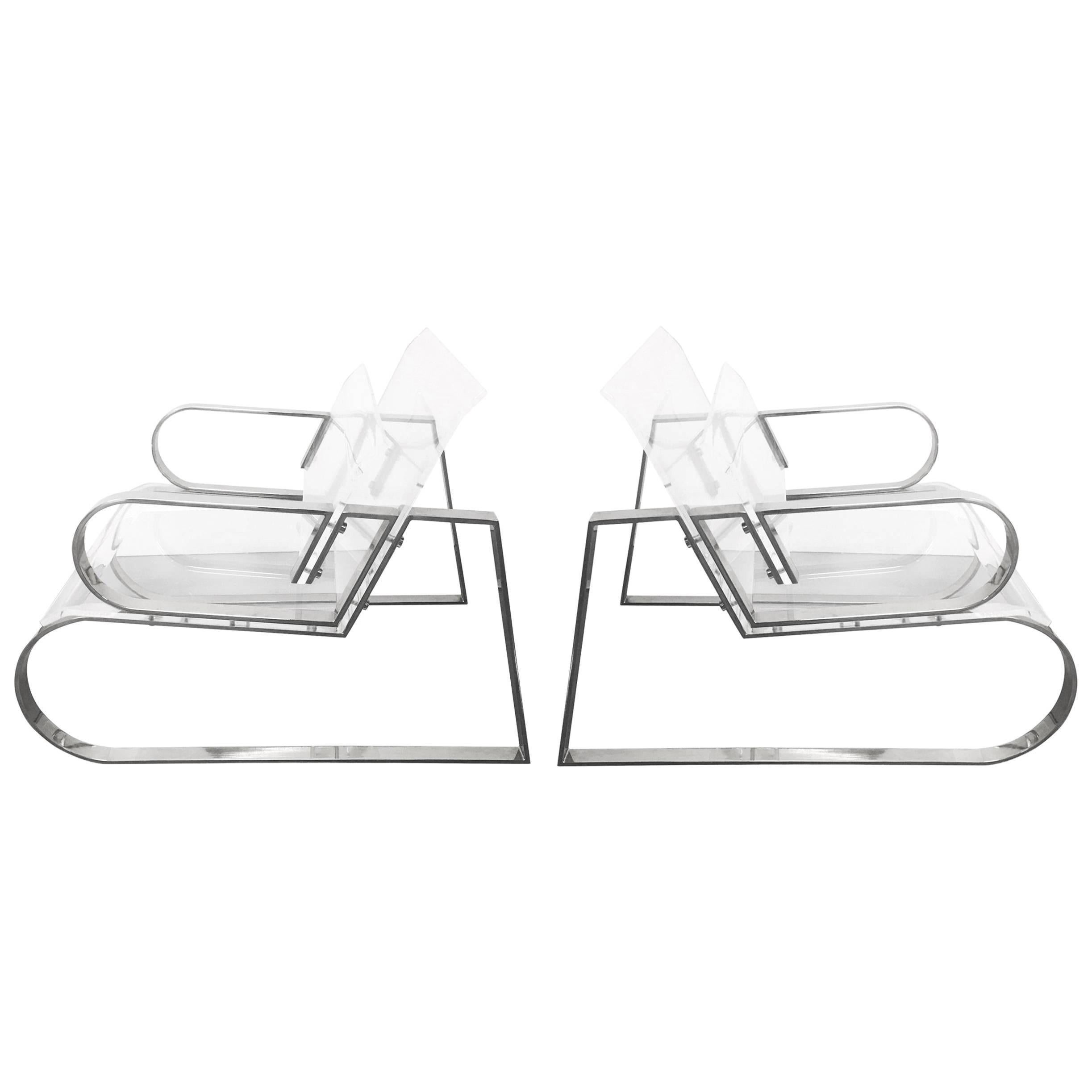 """Pair of """"Double Waterfall"""" Lounging Chairs by Charles Hollis Jones"""