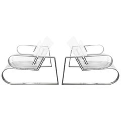 "Pair of ""Double Waterfall"" Lounging Chairs by Charles Hollis Jones"