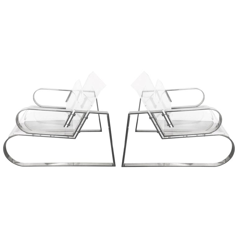 "Pair of ""Double Waterfall"" Lounging Chairs by Charles Hollis Jones For Sale"