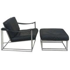 Milo Baughman Thayer Coggin Sling Arm Leather & Chrome Lounge Chair and Ottoman