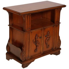 Midcentury Cabinet and Magazine Rack, Renaissance Style, Walnut Wax Polished