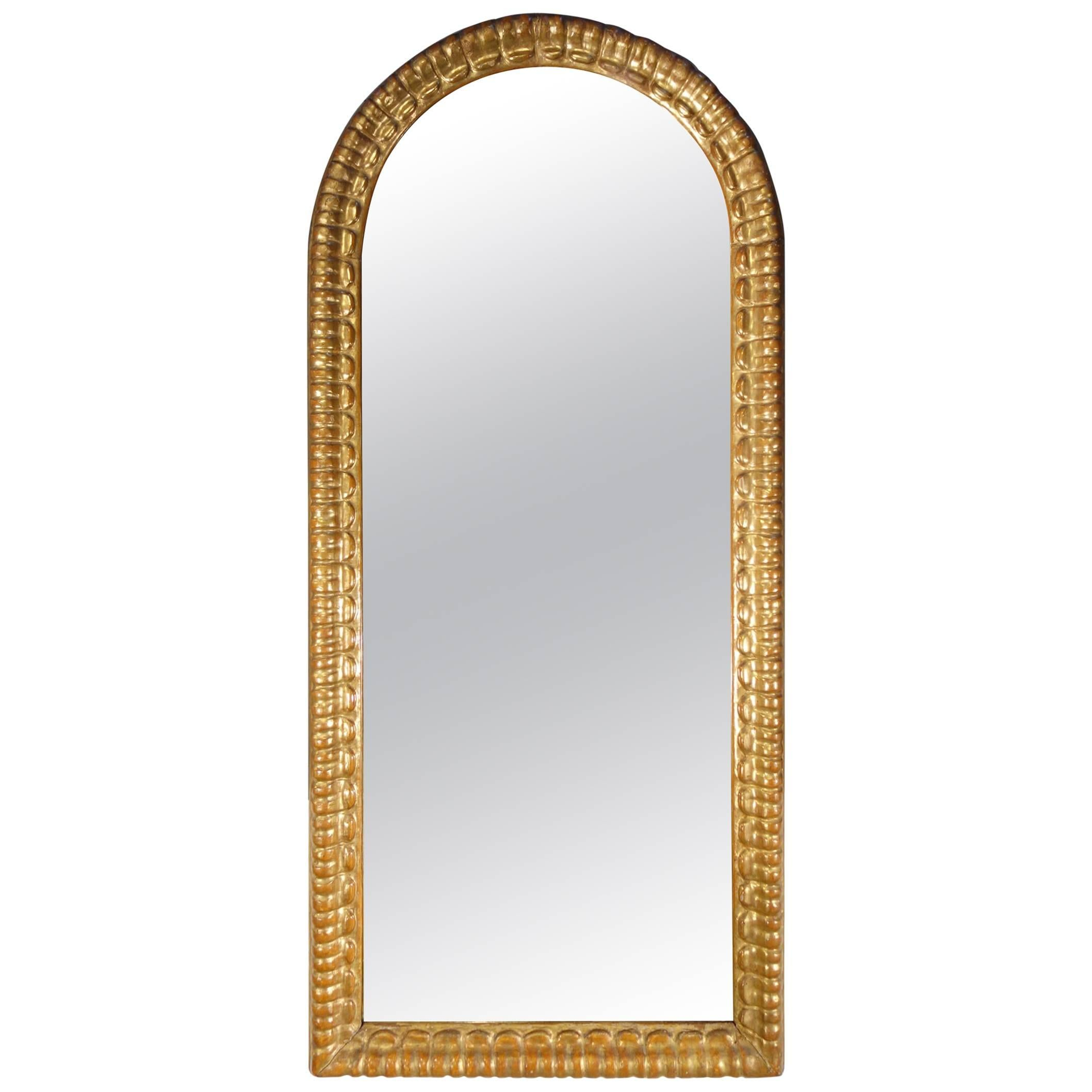 Early 19th Century Antique Italian Baroque Style Gold Gilt Oval Vertical Mirror