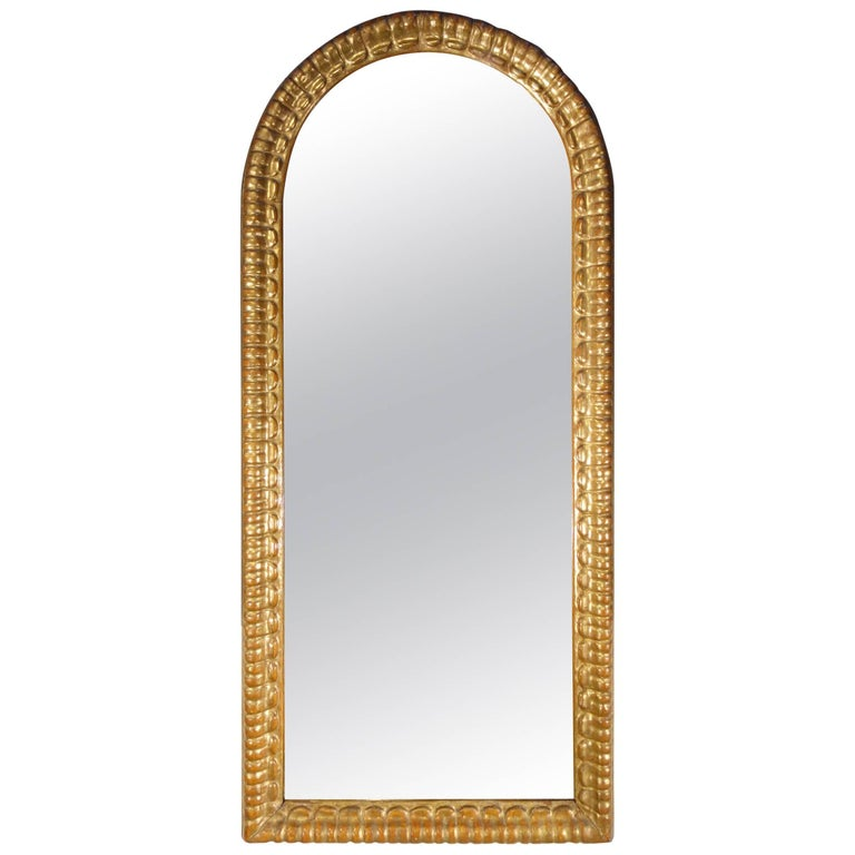 Early 19th Century Antique Italian Gold Gilt Oval Vertical Mirror