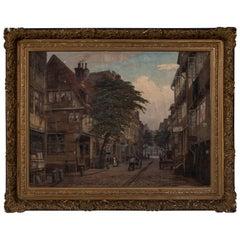 Antique Oil Painting, Old Hamburg Street Scene, Signed Friedrich Harden
