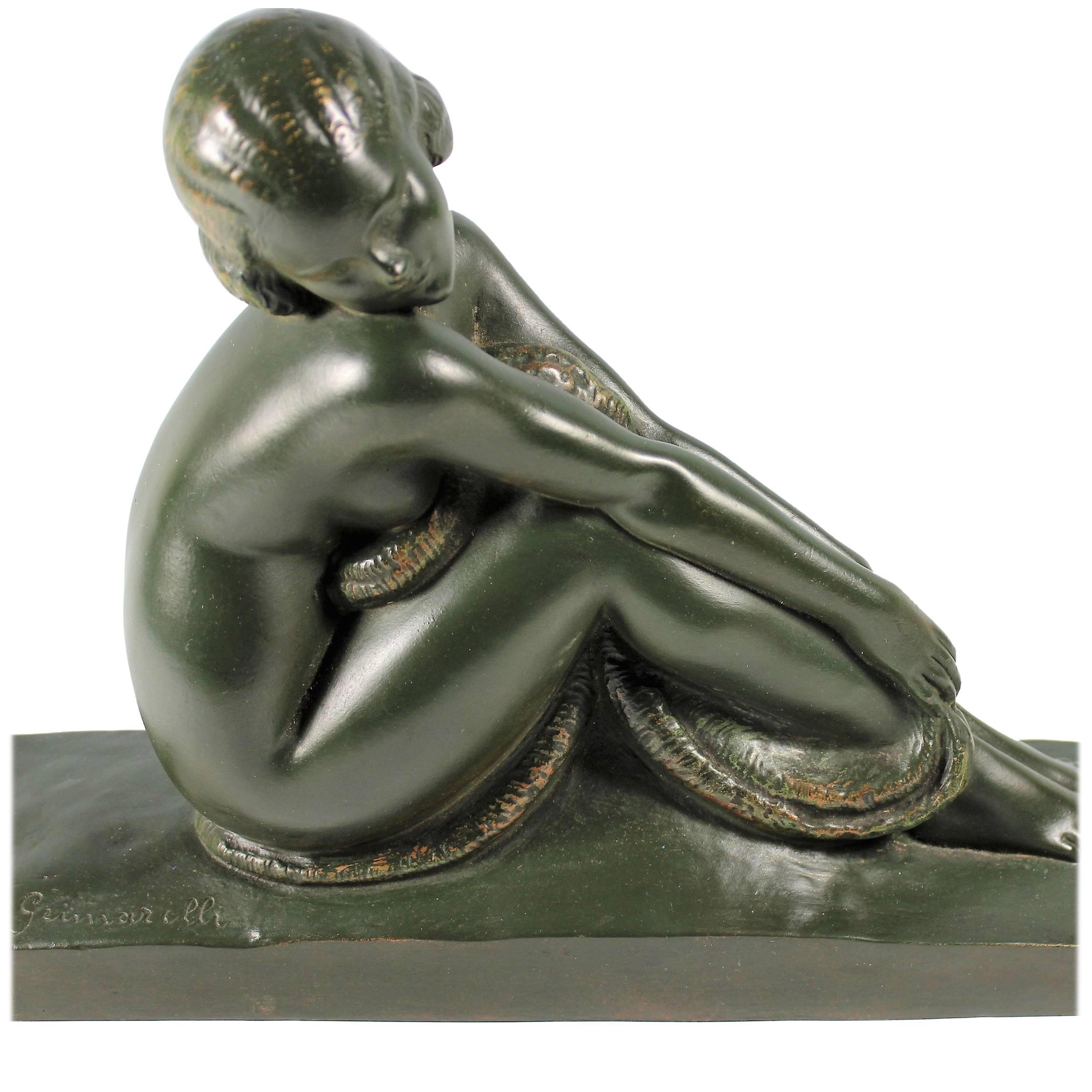 Art Deco French Bronze Seated Nude by Amedeo Gennarelli, circa 1925 Statue