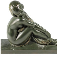 Art Deco French Bronze Seated Nude by Amedeo Gennarelli, circa 1925 Statue