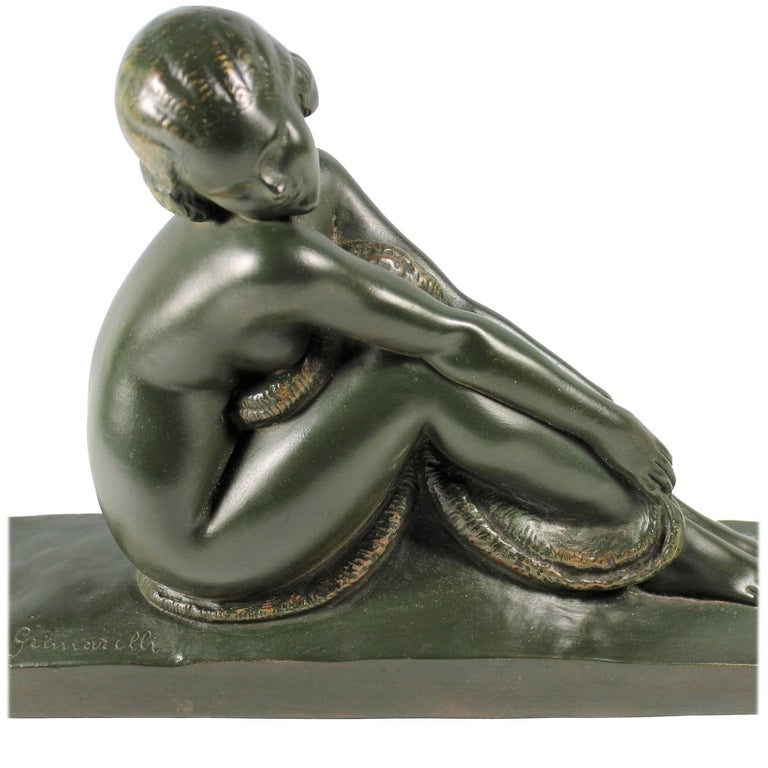 Art Deco French Bronze Seated Nude by Amedeo Gennarelli, circa 1925 Statue For Sale
