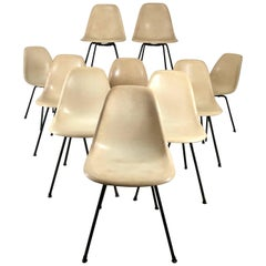 Rare 1st year production Eames Fiberglass Side Shell Chairs, Set of Ten, X-Base