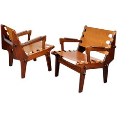Pair of Angel Pazmino Rosewood and Leather Sling Armchairs
