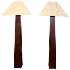 J. Robert Scott Iron Floor Lamps Beautifully Patinated with Original Shades