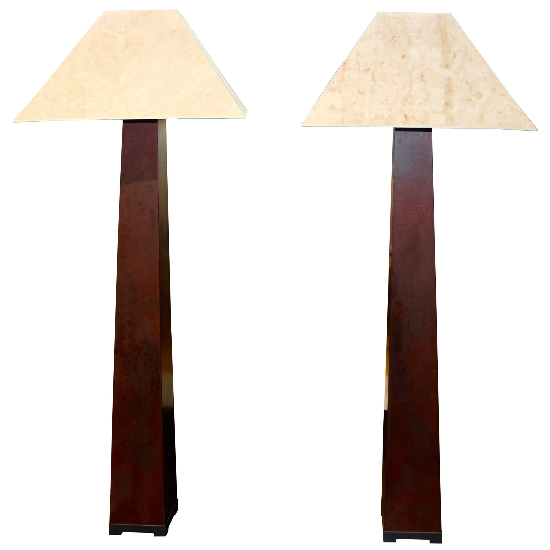J. Robert Scott Iron Floor Lamps Beautifully Patinated With Original Shades