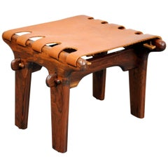 Angel Pazmino Rosewood and Leather Sling Ottoman