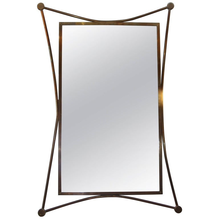 Brass Stylized 1950s Mirror in the Manner of Ico Parisi