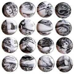 1960s Two Sets of Italian Design Piero Fornasetti Adam and Eve Coasters