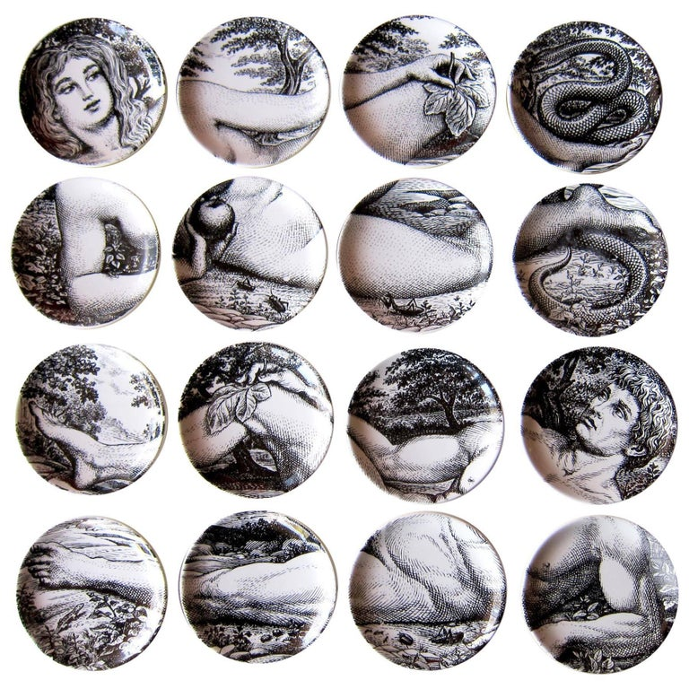 1960s Two Sets of Italian Design Piero Fornasetti Adam and Eve Coasters For Sale
